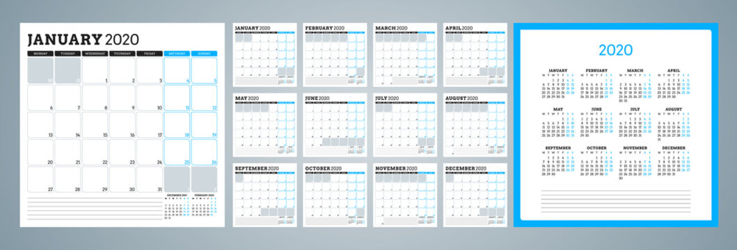 Calendar planner for 2020 year. Week starts on Monday. Set of 12 months. Printable vector stationery design template