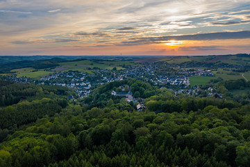 panorama of the city of hartenstein - aerial view during sunset
