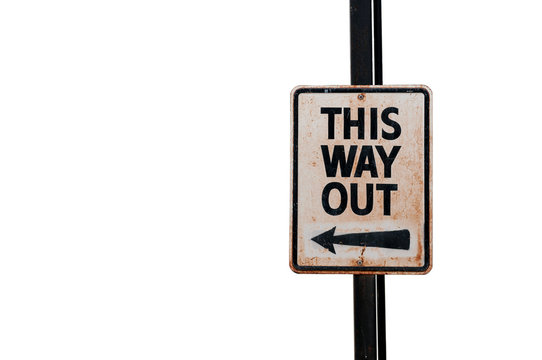 isolated this way out sign on white background
