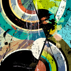 abstract circle background, retro/vintage style with paint strokes and splashes