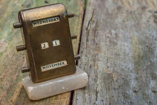 Antique Brass Desktop Perpetual Calendar