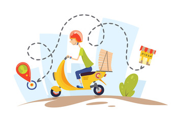 Delivery, the guy on the moped is carrying pizza. Characters. Pizza delivery concept flat design vector illustration.