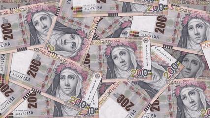 Peru PEN banknote as background wallpaper using 200 Sol Doscientos Nuevos Soles - Image
