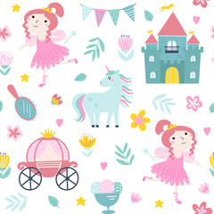 Poster Children fairy seamless pattern with princess