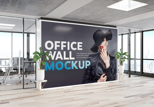 Printed Wall in Modern Office Mockup