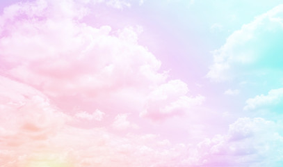 Clouds sky with gradient pastel color use for abstract background.