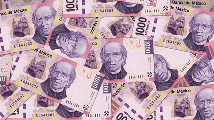 Mexico MXN banknote as background wallpaper using 1000 Peso one thousand Pesos - Image