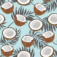 Seamless pattern coconut piece and palm leaves on blue background, Vector illustration