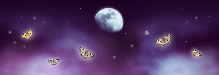 Canvas Prints Violet Fantastical fantasy background of magical purple night sky with shining stars, mysterious clouds, moon and flying butterflies. Photo of moon is taken by me with my camera.