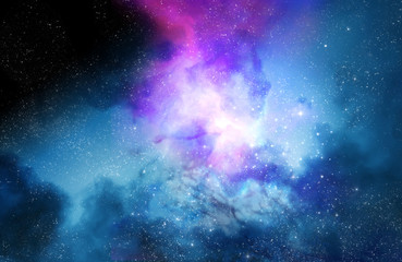 Deep space nebula and galaxy background 3d illustration.