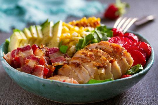Chicken Cobb Salad. Chicken bacon avocado and sweet corn salad