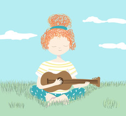 Girl playing guitar relaxing in the garden - vector illustration