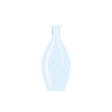 Glass wine empty bottle. tranparent icy-white decanter on white background. Flask for juice, wine, beer, spirits,