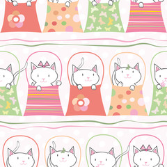 Cute hand drawn cats in handbags in pastel geometric seamless vector pattern. With subtle polka dot background and horizontal ribbons. Great for children, birthdays, party, invitations, gift wrap
