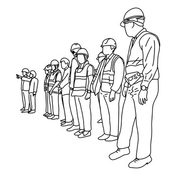engineers with hard hat in construction site vector illustration sketch doodle hand drawn with black lines isolated on white background