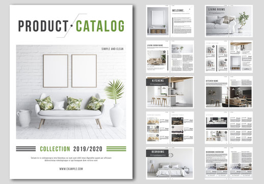 Product Catalog Layout with Green and Gray Accents