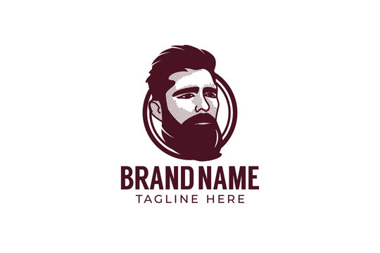 Vector hipster man logo. Stylized man head with beard illustration for logo design.