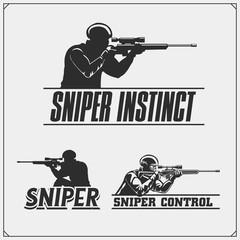 Sniper emblems for sport team. Sniper club labels and design elements. Print design for t-shirt.