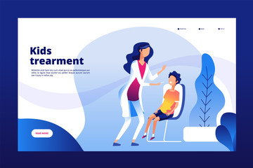Pediatric clinic. Clinical pediatric care mother sick child doctor hospital health checking kids healthcare vector landing page. Patient hospital child sick illustration