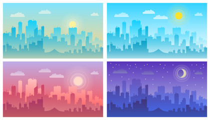 Daytime cityscape. Morning, day and night city skyline landscape, town buildings Fotoväggar
