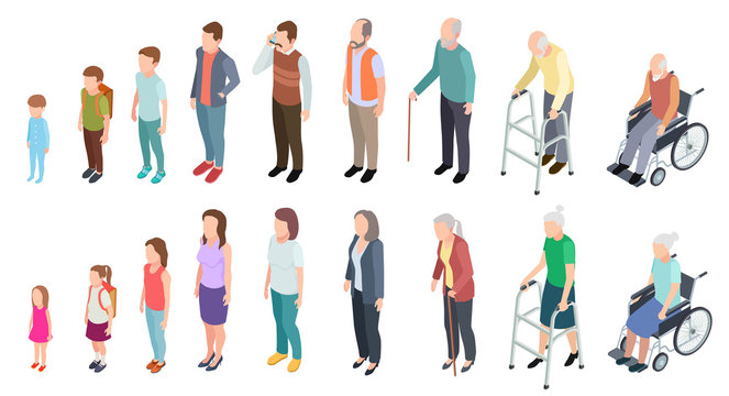 Different generations. Isometric people adult female male characters kids girl boy old man woman human age evolution stages vector set. Illustration of human process aging