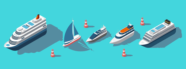 Isometric ferries, yachts, boats, passenger ships vector set. Illustration of ship ferry and boat, sea transport passenger