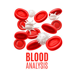Blood Analysis Concept with Blood Cells in Realistic Style