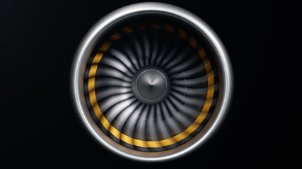 Jet engine, close-up view blades. Engine blades at the ends painted orange. Jet engine in motion, isolated on black background. Part of the airplane. 3D illustration