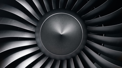 3D illustration jet engine, close-up view jet engine blades. Front view of a jet engine blades. Rotating blades of the turbojet. Part of the airplane. Blades at the ends painted orange Fotomurales