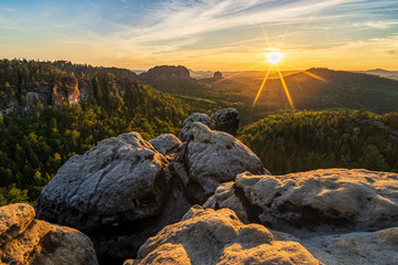 sunset on top of mountain