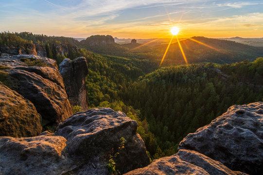 Sunset in Saxon Switzerland