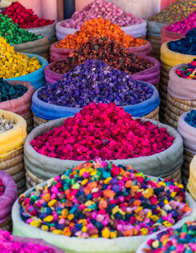 Multicolored dried flowers on sale in the souks of Marrakesh's medina in Morocco
