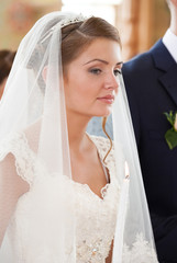 portrait of the bride in the church