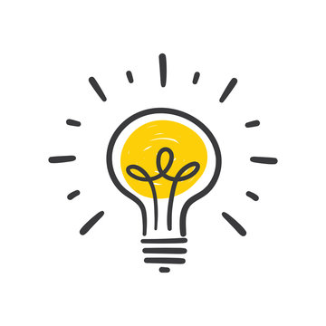 Light bulb doodle, hand drawn idea icon.