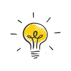 Light bulb doodle, hand drawn idea icon.