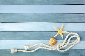 Few summer marine items on a wooden background. Wall mural