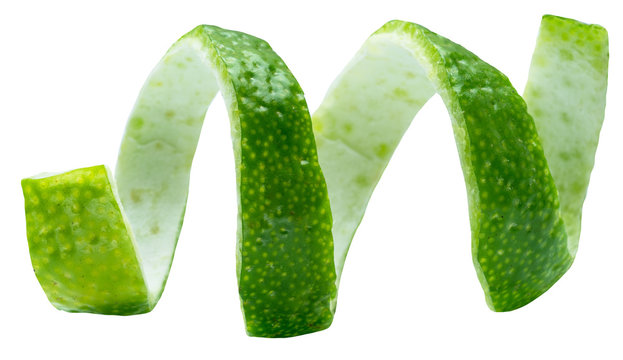 Twist of lime peel on white background. Clipping path.