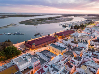 Olhao with two market buildings by Ria Formosa, Algarve, Portugal