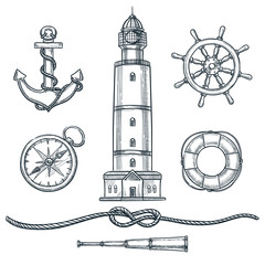 Summer nautical vintage icons set. Vector hand drawn sketch illustration. Sea and marine isolated design elements