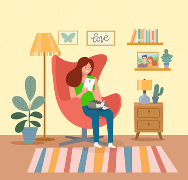 Woman sitting on the chair with tablet  Vector flat illustration