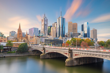 Wall Mural - Melbourne city skyline at twilight in Australia