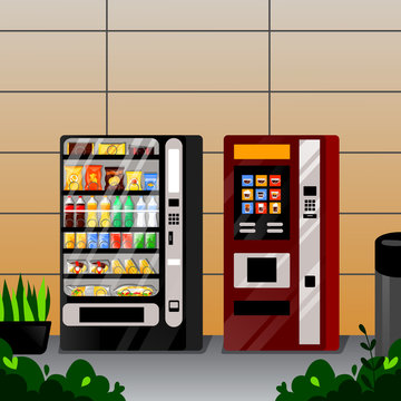 Vending snacks, water and coffee automatic machines. Vector flat cartoon illustration. Street food selling service.