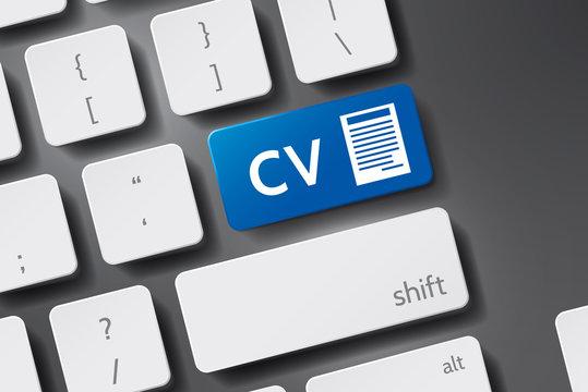 """CV concept - Button """"CV"""" on 3D keyboard Vector. CV icon vector. Button keyboard with CV text."""