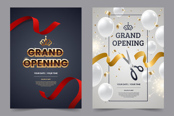 Grand opening invitation flyer with red and gold cut ribbons and scissors. Golden text on luxury background. Falling confetti with white balloons. Opening invitation design. Vector eps 10.