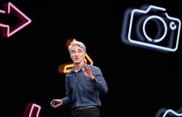 Craig Federighi, Apple senior VP of Software Engineering, speaks during Apple's annual Worldwide Developers Conference in San Jose