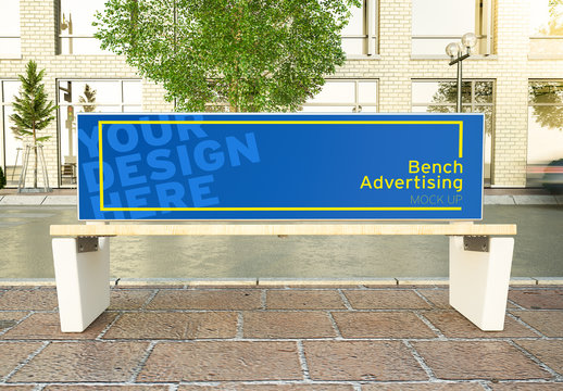 Advertising Bench on a Street Mockup