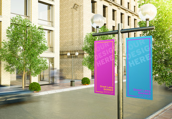 Street Lamp Post with Dual Banners Mockup