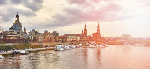 Skyline of Dresden next to Elbe river in East Germany