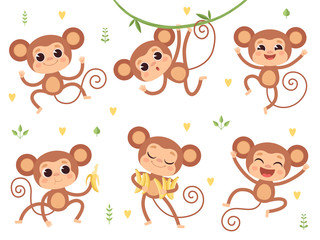 Cute monkeys. Jungle wild animals baby little monkeys playing vector characters in action poses. Happy monkey and chimpanzee with banana illustration