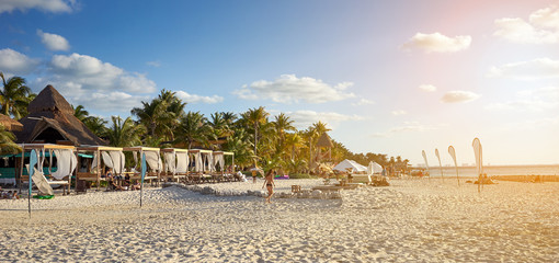"""North Beach of """"Isla Mujeres"""" in Mexico at Sunset / Caribbean Island with very nice beaches next to Cancun"""